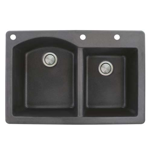 Transolid Aversa 33in x 22in silQ Granite Drop-in Double Bowl Kitchen Sink with 3 BAD Faucet Holes, In Black