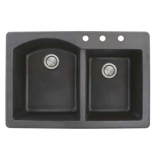 Transolid Aversa 33in x 22in silQ Granite Drop-in Double Bowl Kitchen Sink with 3 BCD Faucet Holes, In Black