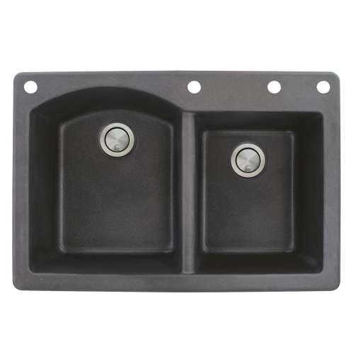 Transolid Aversa 33in x 22in silQ Granite Drop-in Double Bowl Kitchen Sink with 4 BADE Faucet Holes, In Black