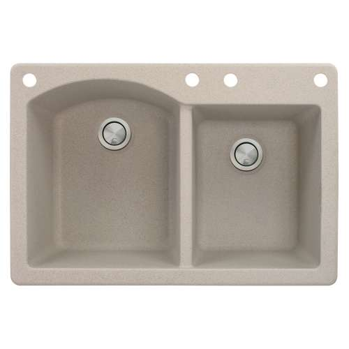 Transolid Aversa 33in x 22in silQ Granite Drop-in Double Bowl Kitchen Sink with 4 BACE Faucet Holes, In Cafe Latte