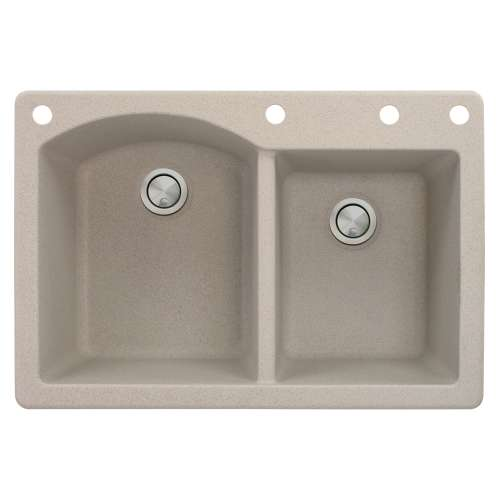 Transolid Aversa 33in x 22in silQ Granite Drop-in Double Bowl Kitchen Sink with 4 BADE Faucet Holes, In Cafe Latte