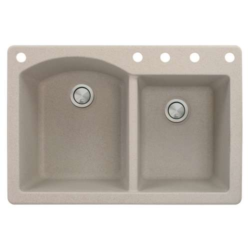 Transolid Aversa 33in x 22in silQ Granite Drop-in Double Bowl Kitchen Sink with 5 BACDE Faucet Holes, In Cafe Latte