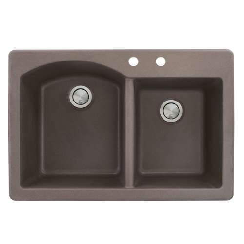 Transolid Aversa 33in x 22in silQ Granite Drop-in Double Bowl Kitchen Sink with 2 BC Faucet Holes, In Espresso