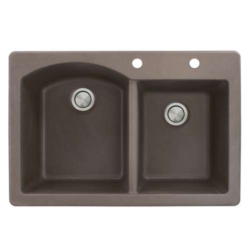 Transolid Aversa 33in x 22in silQ Granite Drop-in Double Bowl Kitchen Sink with 2 BD Faucet Holes, In Espresso