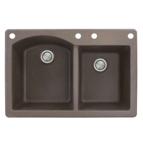 Transolid Aversa 33in x 22in silQ Granite Drop-in Double Bowl Kitchen Sink with 4 BACE Faucet Holes, In Espresso