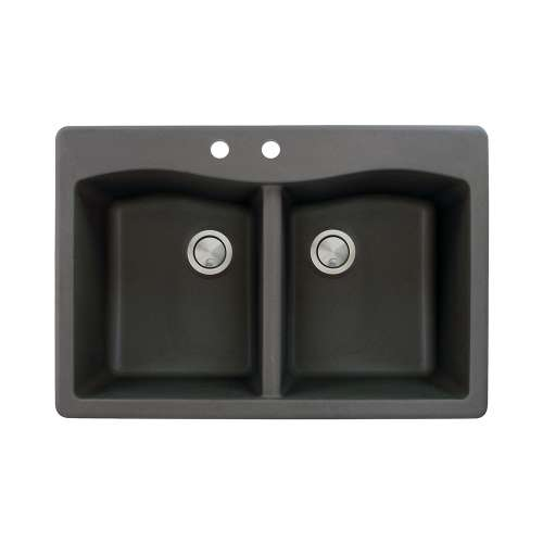 Transolid Aversa 33in x 22in silQ Granite Drop-in Double Bowl Kitchen Sink with 2 CB Faucet Holes, in Black