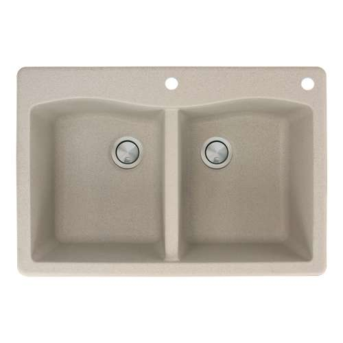 Transolid Aversa 33in x 22in silQ Granite Drop-in Double Bowl Kitchen Sink with 2 CE Faucet Holes, in Café Latte