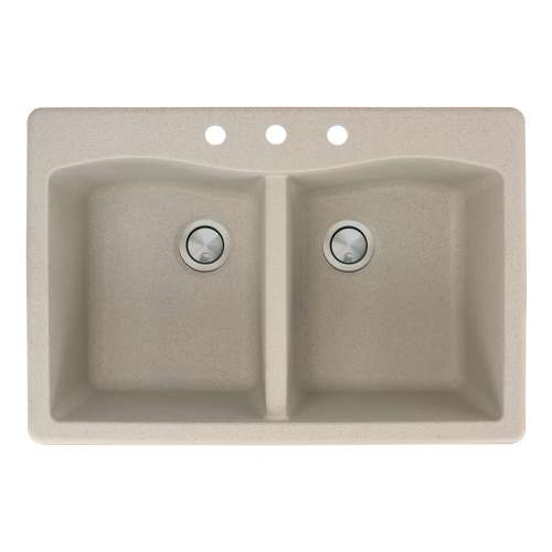 Transolid Aversa 33in x 22in silQ Granite Drop-in Double Bowl Kitchen Sink with 3 CBD Faucet Holes, in Café Latte