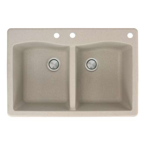 Transolid Aversa 33in x 22in silQ Granite Drop-in Double Bowl Kitchen Sink with 3 CBE Faucet Holes, in Café Latte