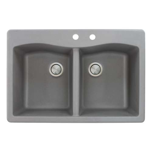 Transolid Aversa 33in x 22in silQ Granite Drop-in Double Bowl Kitchen Sink with 2 CD Faucet Holes, in Grey