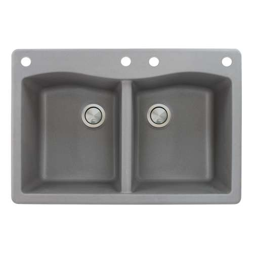 Transolid Aversa 33in x 22in silQ Granite Drop-in Double Bowl Kitchen Sink with 4 CADE Faucet Holes, in Grey
