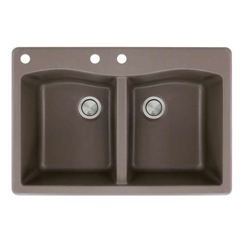 Transolid Aversa 33in x 22in silQ Granite Drop-in Double Bowl Kitchen Sink with 3 CAB Faucet Holes, in Espresso