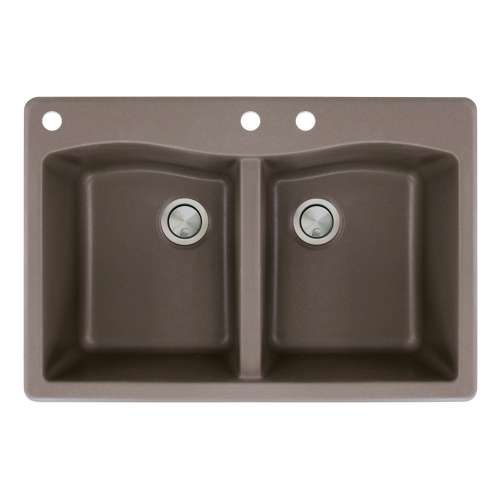 Transolid Aversa 33in x 22in silQ Granite Drop-in Double Bowl Kitchen Sink with 3 CAD Faucet Holes, in Espresso
