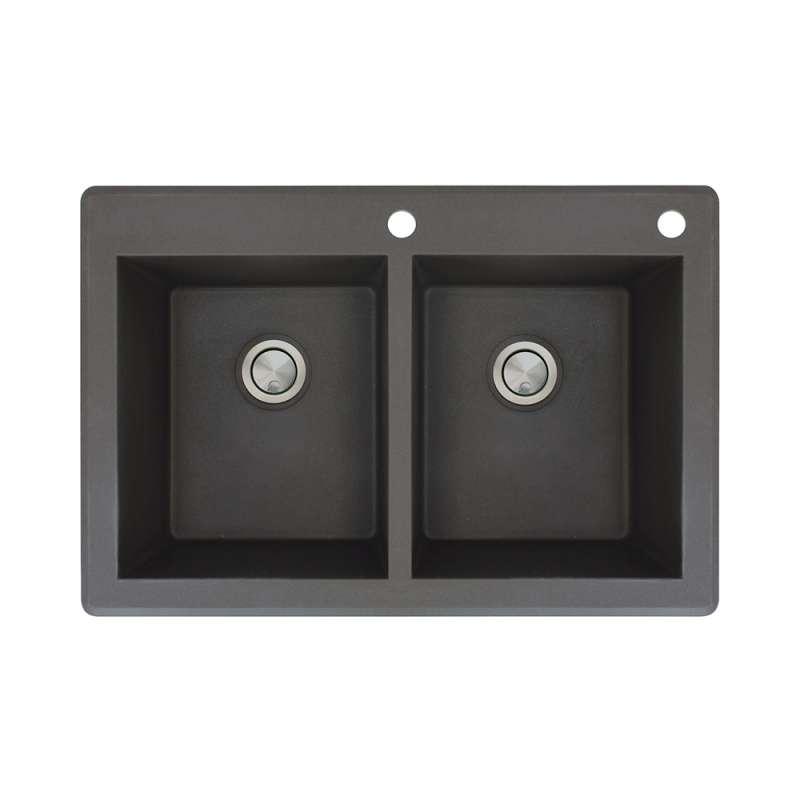 Transolid Radius Granite 33 In Drop In Kitchen Sink In Black