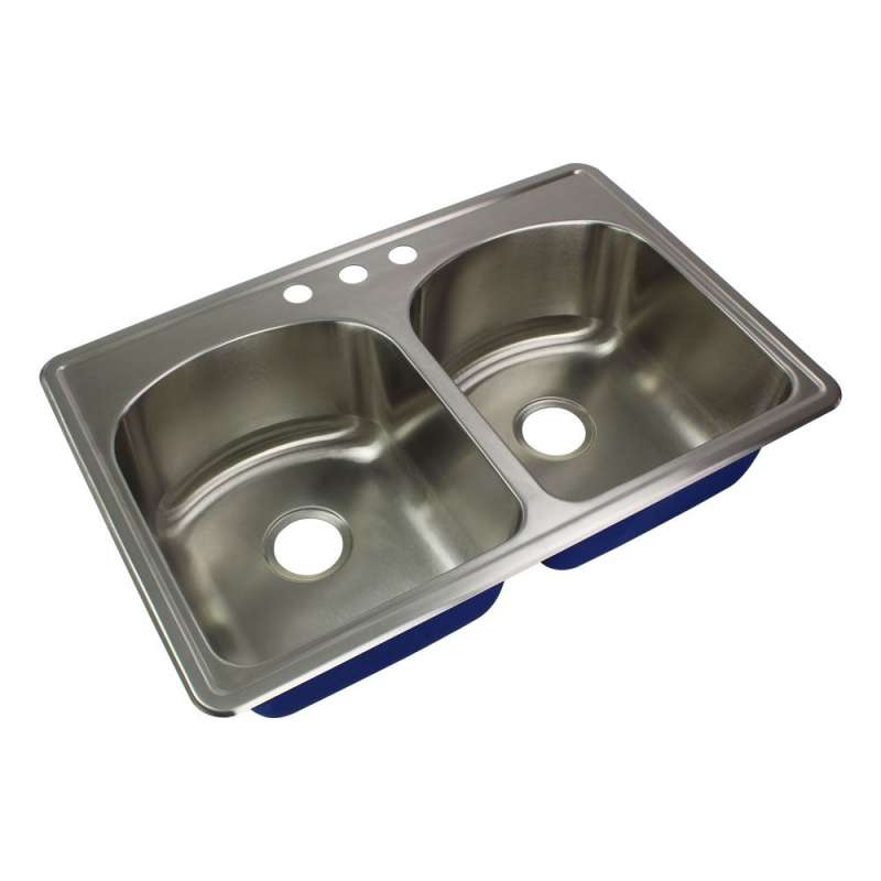 Transolid Meridian Stainless Steel 33-in Drop-in Kitchen Sink