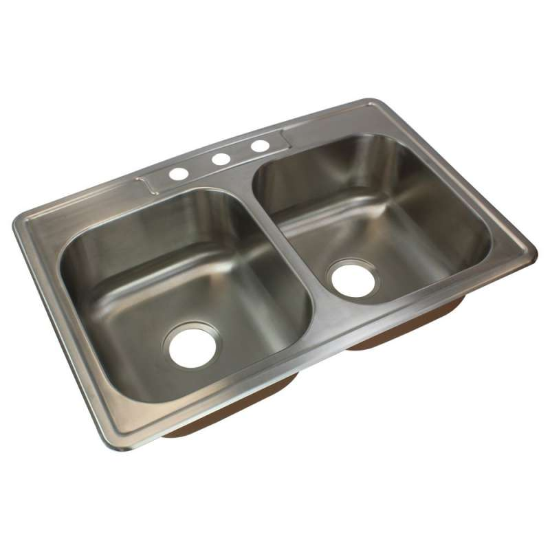 Transolid Classic Stainless Steel 33-in Drop-in Kitchen Sink