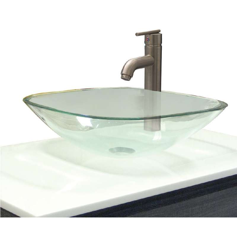 Transolid Millbrook Glass 16.5-in Square Vessel Sink