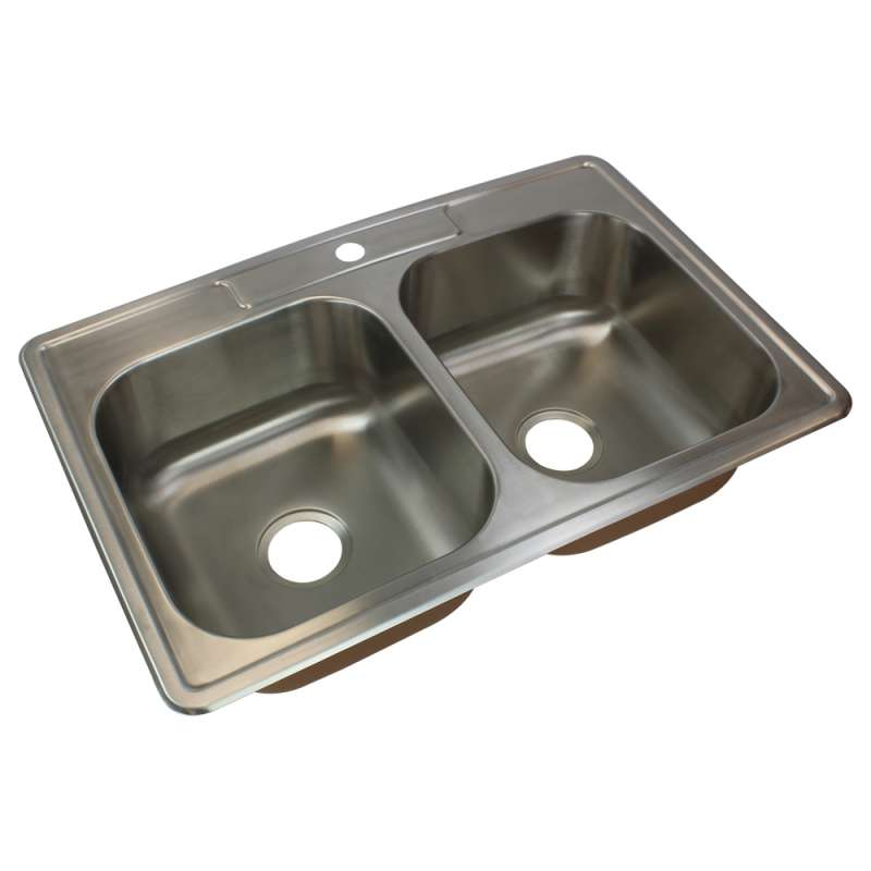Transolid Classic 33in x 22in 18 Gauge Drop-in Double Bowl Kitchen Sink with 1 Faucet Hole