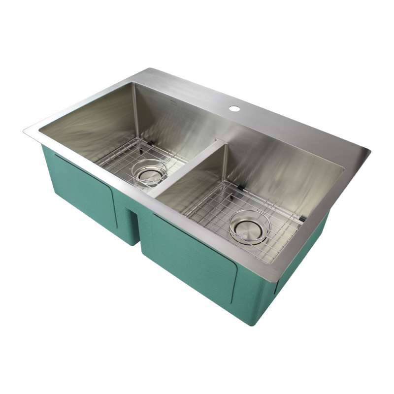 Transolid Diamond Stainless Steel 33-in Dual Mount Kitchen Sink - Multiple Hole Configurations Available