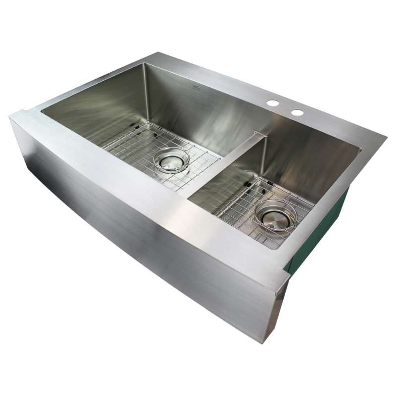 Transolid Diamond 36in x 25in 16 Gauge Dual Mount Double Bowl Kitchen Sink with Low Divide with MR2 Holes