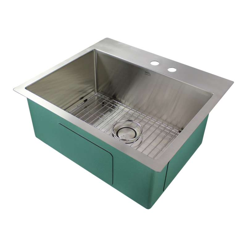 Transolid Diamond Stainless Steel 25-in Dual Mount Kitchen Sink