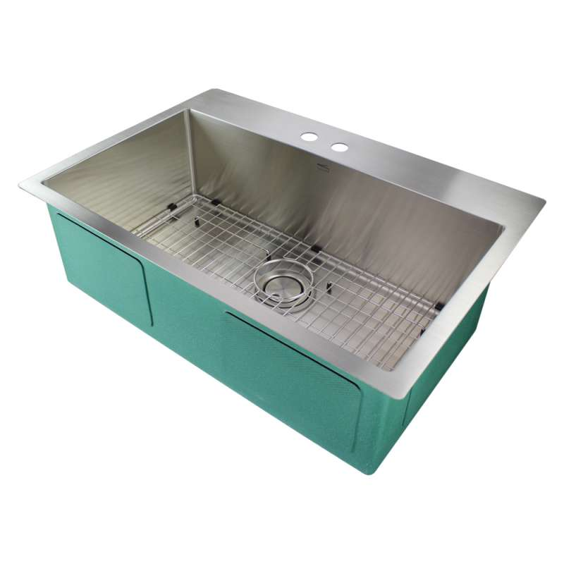 Transolid Diamond Stainless Steel 32-in Dual Mount Kitchen Sink