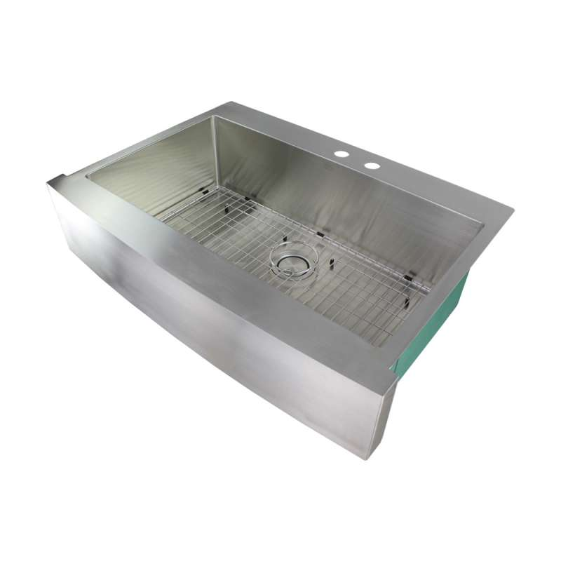 Transolid Diamond 36in x 25in 16 Gauge Super  Dual Mount Single Bowl Kitchen Sink with MR2 Holes