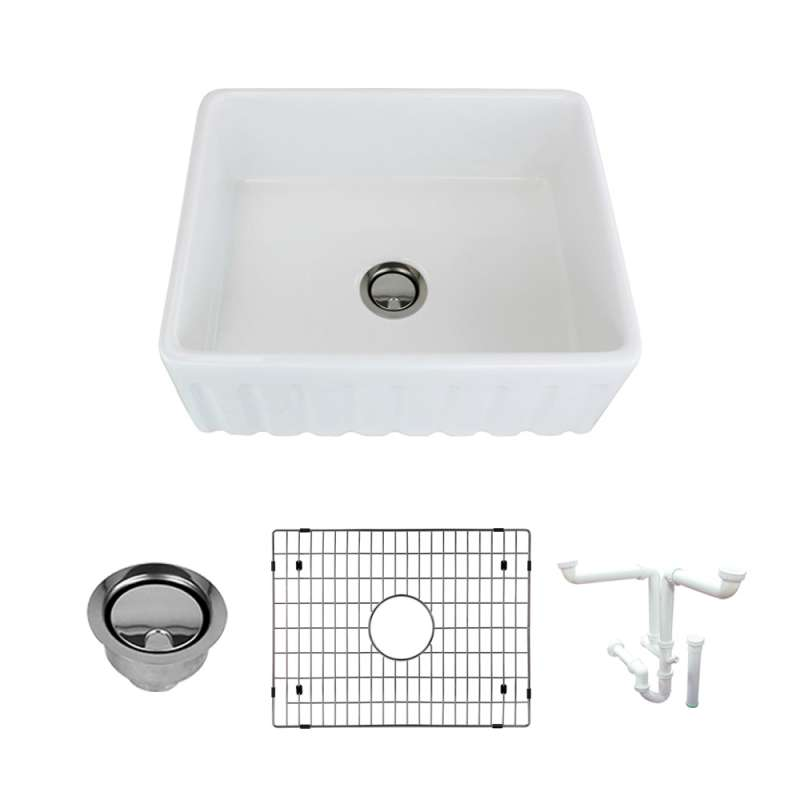 Transolid Logan 24in x 19in Undermount Single Bowl Farmhouse Fireclay Kitchen Sink with Reversible (Fluted/Plain) Front, in White with Grid, Strainer, Installation Kit
