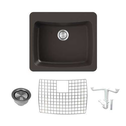 Transolid Genova 25in Granite Single Bowl Dual Mount 1-Hole Kitchen Sink with Grid, Strainer and Installation Kit
