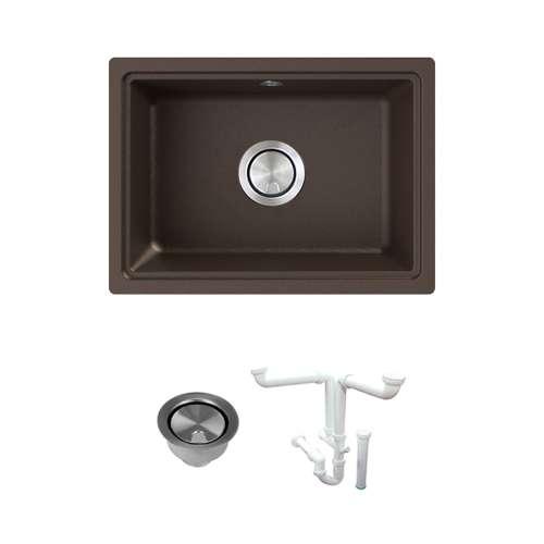 Transolid Genova 20in Granite Single Bowl Undermount Kitchen Sink with Strainer, Installation Kit