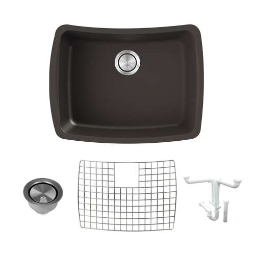 Transolid Genova 25in Granite Single Bowl Undermount Kitchen Sink with Grid, Strainer, Installation Kit