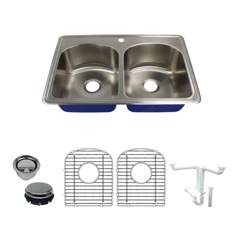 Buy Transolid Meridian Stainless Steel 33 Drop-in Kitchen Sink Kit ...