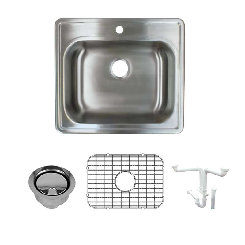 Transolid 25-in X 22-in Single Hole 16 Gauge Stainless Steel Kitchen Sink Kit With Bottom Grids, Flip-Top Strainer, Flip-Top Disposal Strainer