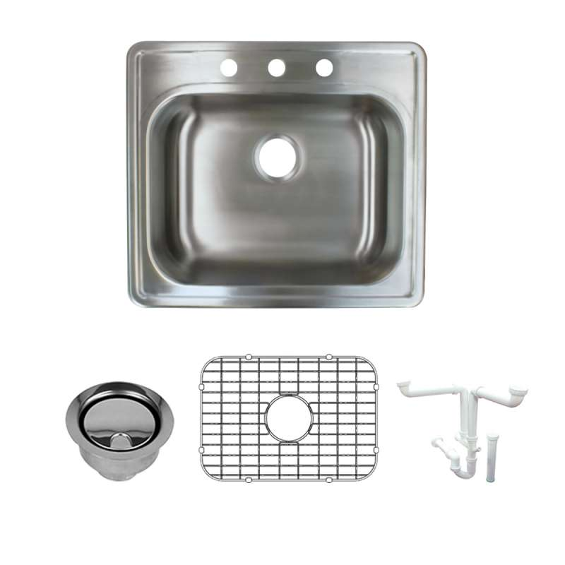 Transolid 25-in X 22-in Triple Hole 16 Gauge Stainless Steel Kitchen Sink Kit With Bottom Grids, Flip-Top Strainer, Flip-Top Disposal Strainer
