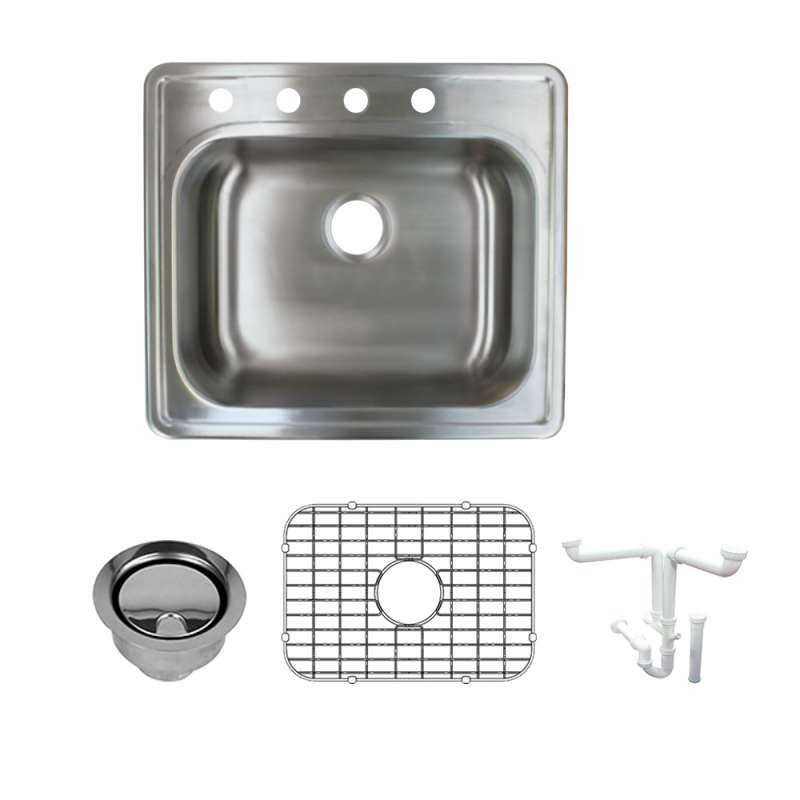 Transolid Meridian 25in x 22in Drop-in Single Bowl Kitchen Sink with 4-Holes with Grid, Strainer, Installation Kit
