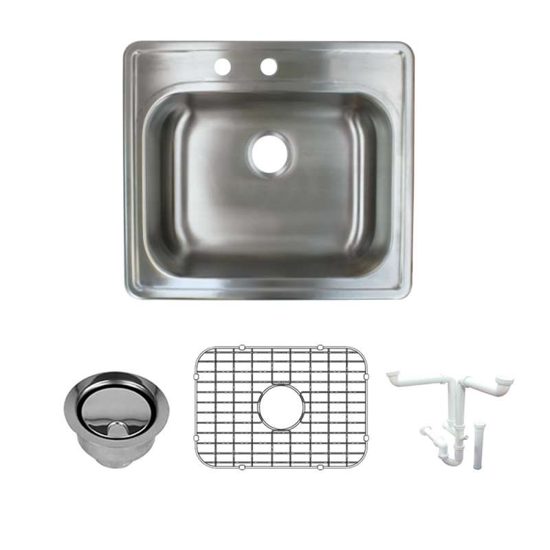 Transolid 25-in X 22-in Left Double Hole 16 Gauge Stainless Steel Kitchen Sink Kit With Bottom Grids, Flip-Top Strainer, Flip-Top Disposal Strainer