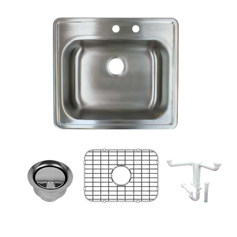 Transolid 25-in X 22-in Right Double Hole 16 Gauge Stainless Steel Kitchen Sink Kit With Bottom Grids, Flip-Top Strainer, Flip-Top Disposal Strainer