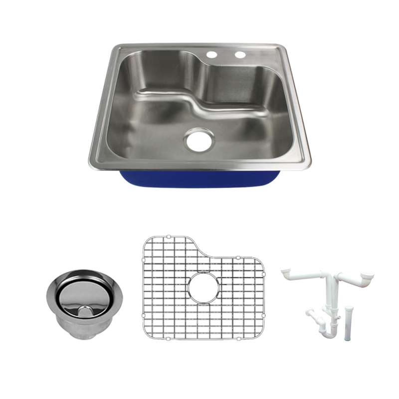 Transolid Meridian Stainless Steel 25 Drop-in Kitchen Sink Kit with Bottom Grids, Flip-Top Strainer, Flip-Top Disposal Strainer, Drain Installation Kit