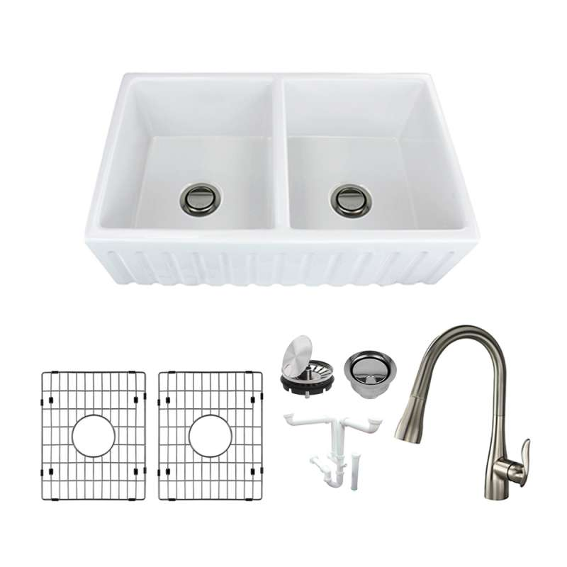 Transolid Logan Fireclay 33-in Farmhouse Kitchen Sink Kit with Faucet, Grids, Strainers and Drain Installation Kit