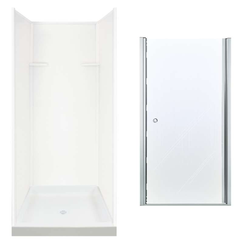 Transolid Solid Surface/Clear Glass 36-in x 72-in Alcove Shower Wall, Base, and Door Kit