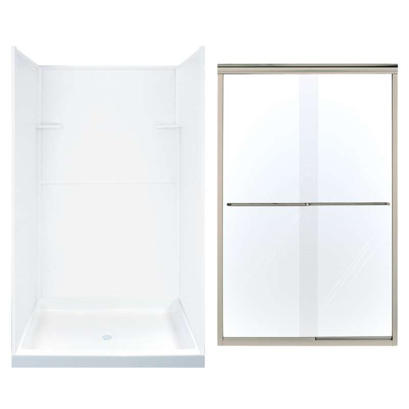 Transolid Solid Surface/Clear Glass 48-in x 72-in Alcove Shower Wall, Base, and Door Kit
