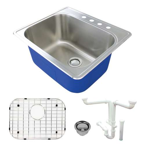 Transolid K-MTSB252212-4 Meridian Stainless Steel Laundry/Utility Sink Kit with 4-Hole in Brushed Finish