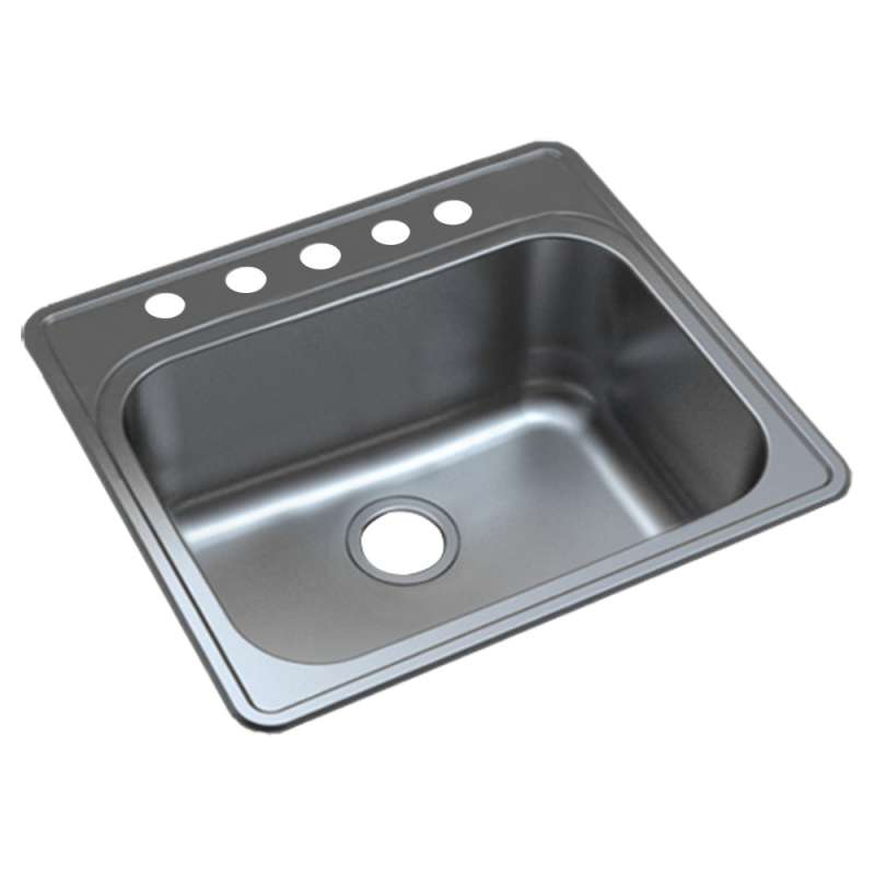 Transolid Meridian 25in x 22in 16 Gauge Drop-in Single Bowl Kitchen Sink with 5 Faucet Holes