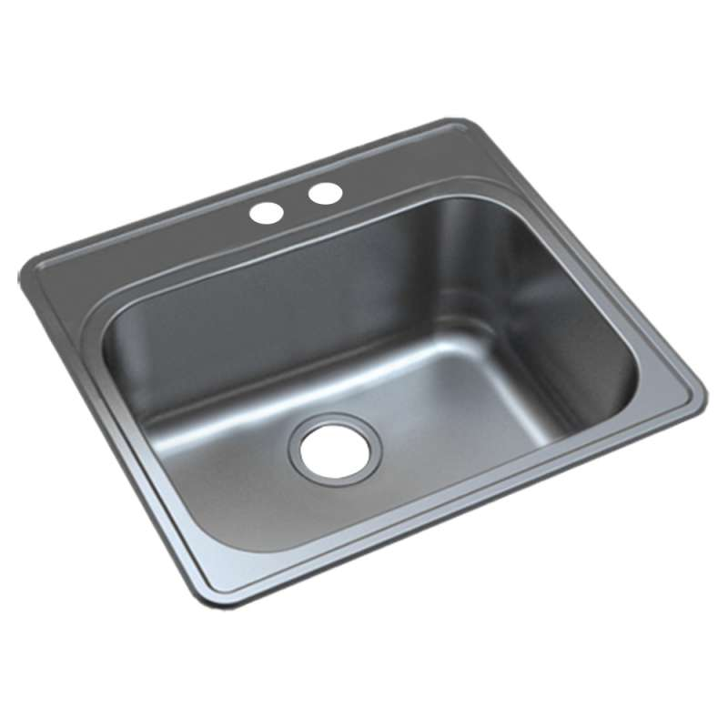 Transolid 25-in X 22-in Right Double Hole 16 Gauge Stainless Steel Kitchen Sink
