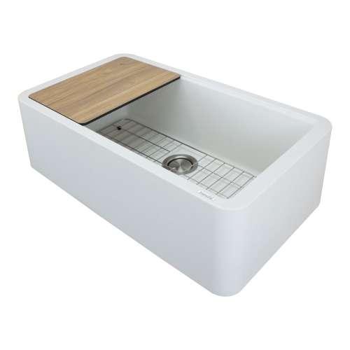 Transolid RUSSF3319-01 SilQgranite Farmhouse Kitchen Sink in White
