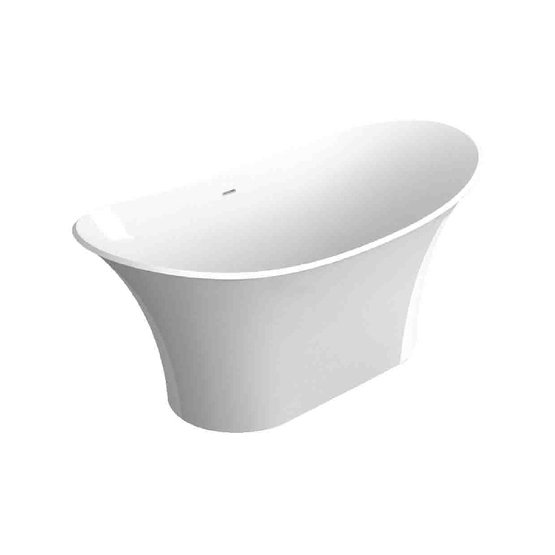 Transolid Anais 60-in L x 30-in W x 27.5-in H Resin Stone Freestanding Bathtub with center drain, in White