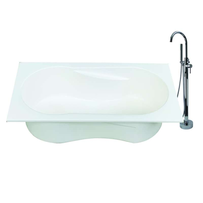Transolid Brookfield Resin Stone 60-in Reversible Drain Drop-in or Undermount Tub and Faucet Kit