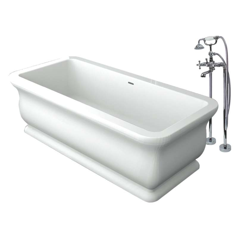 Transolid Canova Royal Resin Stone 71-in Center Drain Freestanding Tub and Faucet Kit