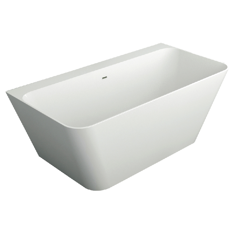 Transolid Glenwood 67-in L x 31.5-in W x 24-in H Resin Stone Freestanding Bathtub with center drain, in White