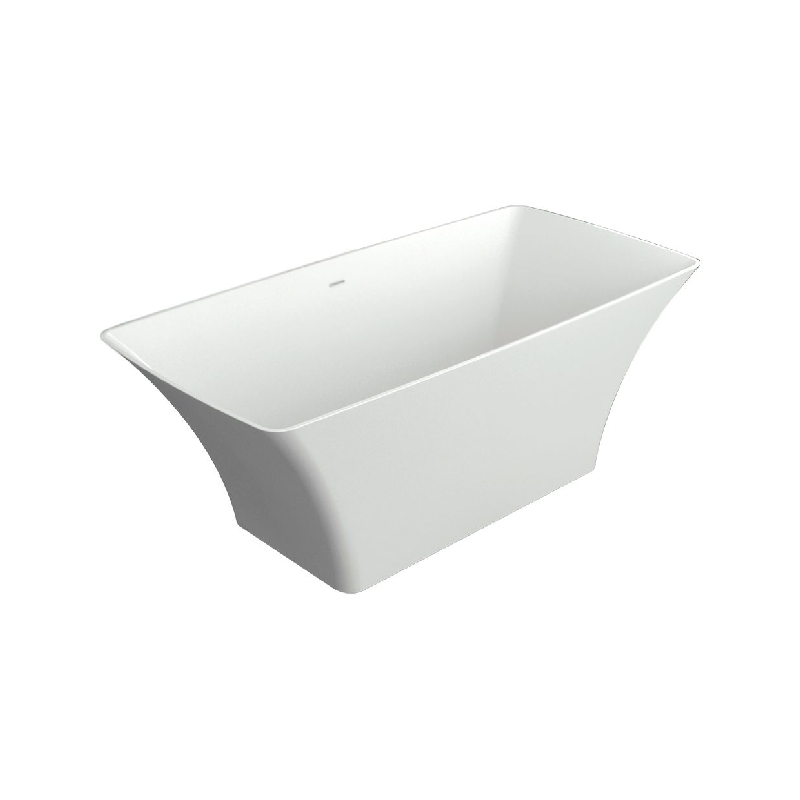 Transolid Lynville Resin Stone 60-in Center Drain Freestanding Tub